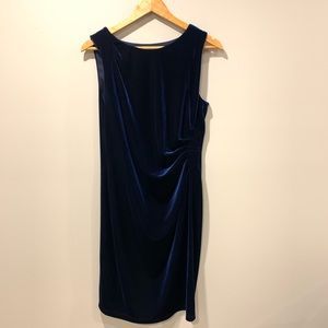 mandee - Ruched Stretch Velour Navy Dress